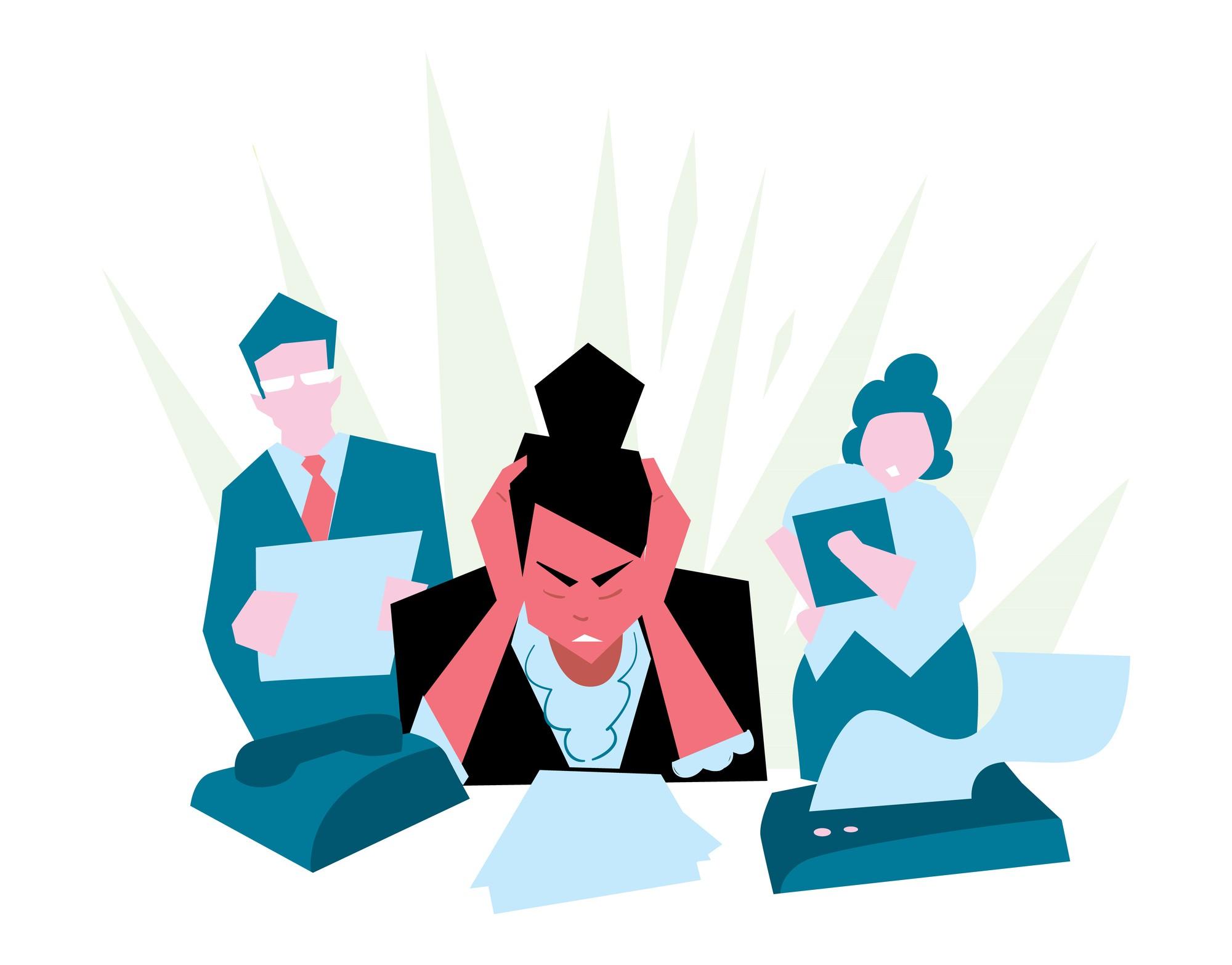 mujer frustrada con su trabajo, agobio laboral