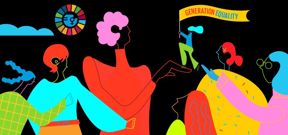 Imagen tomada de la página de ONU Mujeres creada por el artista Yihui Yuan.